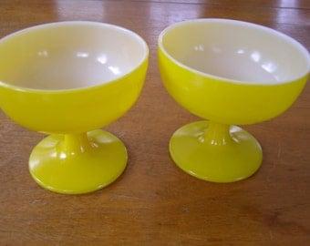 Lot of 2 Retro Milk Glass Yellow Sherbet