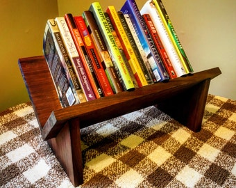 Wooden Book Shelf. Tabletop Book Holder. Rustic Book Shelf. Book Holder.