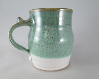 LIMITED EDITION MUG, Stoneware Coffee Cup in Green / White  Glaze - Dishwasher, Oven & Microwave Safe Pottery