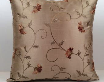 Tan Pillow, Throw Pillow Cover, Decorative Pillow Cover, Cushion Cover, Pillowcase, Accent Pillow, Silk and velour blend Floral Embroidery.