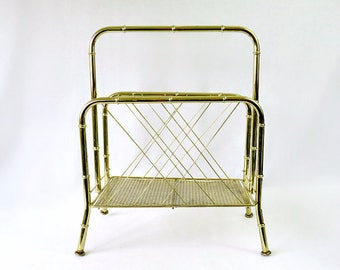 Mid Century Modern Faux Bamboo Gold Metal Magazine Rack Holder Stand Hollywood Regency vintage record rack storage