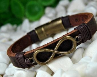 Personalized Leather Bracelet, Bronze Infinity Bracelet, Magnetic Clasp, Mens Bracelet, Hidden Message, Custom Leather, Women Bracelet, Gift