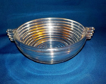 Anchor Hocking Manhattan Pattern Clear Glass Bowl, Art Deco, Beehive Rings