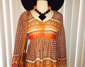 Vtg Boho Semi Sheer Coachella Hippie 90's Bell Sleeve Gypsy Blouse Top Sz SML