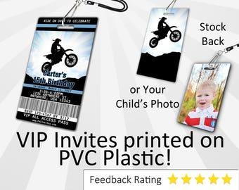 Motocross Invitation PLASTIC Motocross Birthday, Motocross Birthday Invitation, Birthday Invite, Motocross 1st Birthday SKU-INV080