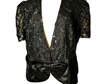 Women's jacket, short jacket, black jacket, cropped jacket, lace jacket, embroidered jacket, formal jacket, dressy jacket, sequin jacket