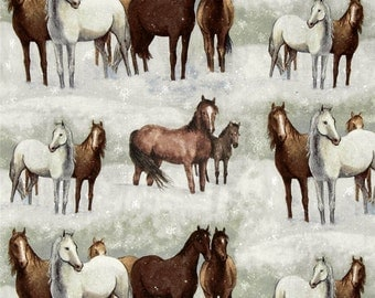 Horses on Pale Green Quilting Fabric - Fat Quarter or Yardage