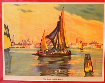 1927 Grand Canal in Venice Matted Vintage Print