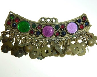 Vintage Kuchi Hairclip, Tribal-Hairclip, Gypsy Hair Jewelry with Glass Jewels, Hippie Hairclip, Brass Kuchi Hairclip