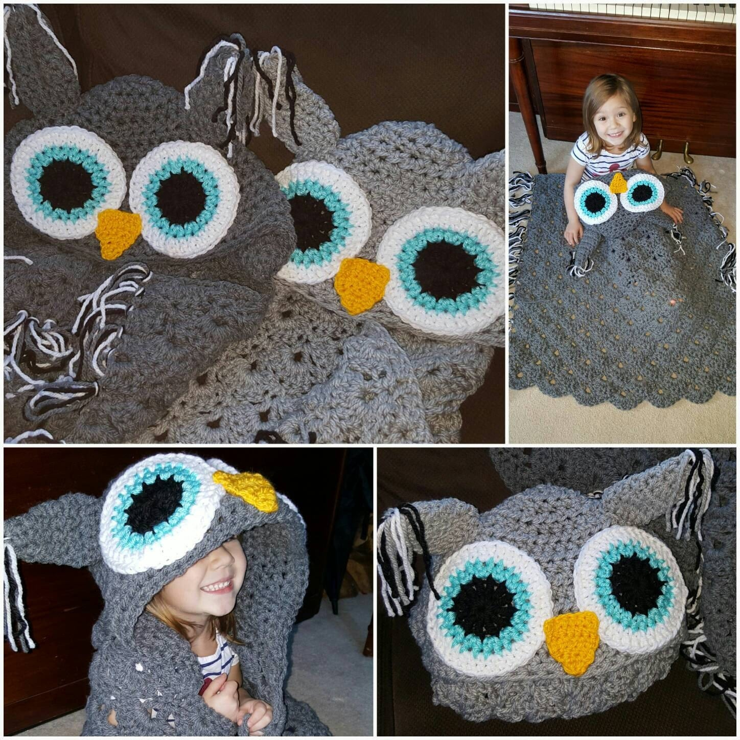 Crocheted hooded owl blanket child hooded owl blanket adult crocheted hooded owl blanket child hooded owl blanket adult hooded owl blanket chunky bankloansurffo Image collections