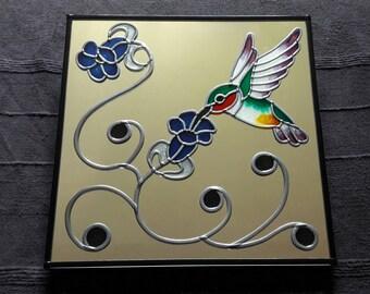 "Hand Made 'Humming Bird'  Mirror 12x12"""