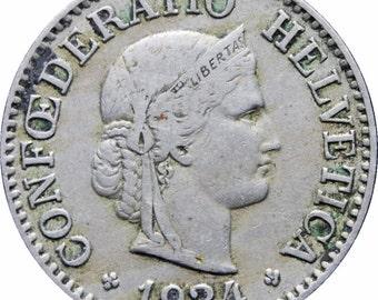 1924 Switzerland 10 Rappen Coin