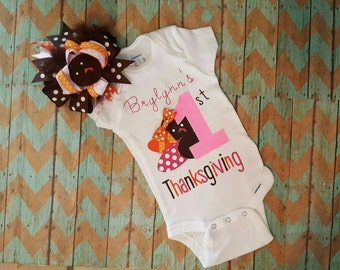 Baby's first thanksgiving outfit - 1st turkey day first thanksgiving, Baby shower gift, baby gift, Thanksgiving