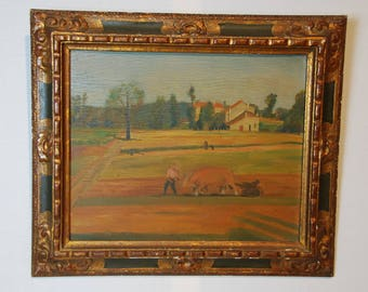 French provençal acrylic on plywood painting. Plowing the fields with oxen, nice patina. Very good 30s gilt and wood frame.