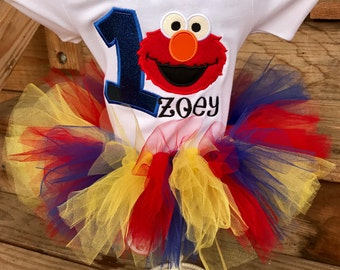 Elmo Inspired Birthday Shirt & Tutu Set- Any Color - ANY Size Newborn Through Youth