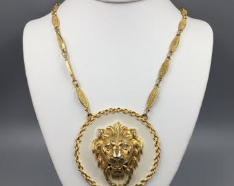 Huge Accessocraft NYC Enamel Lion Door Knocker Necklace - Vintage 1970s Gold Lion Medallion Pendant Necklace