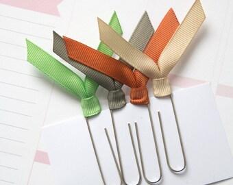 4 jumbo planner clips, solid ribbon clips, paper clips, for planner, agenda, notebook, filofax, midori, bookmark clips