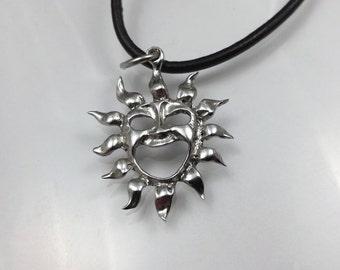 Flaming sun necklace,sun flames necklace ,sun necklace ,boho necklace ,hippie necklace ,gypsy necklace ,sun with face ,sun jewelry