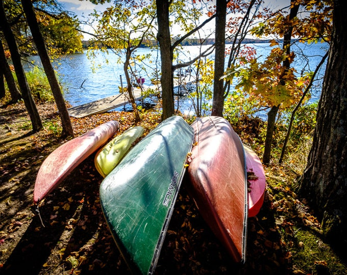 COLORFUL CANOES | modern fine art photography blank note cards custom books interior wall decor affordable pictures –Rick Graves