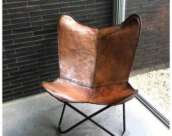 large handmade leather butterfly chair made from 100 buffalo leather light brown