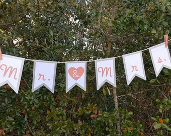 Mr. & Mrs. Wedding Engagement Party Pennant Banner