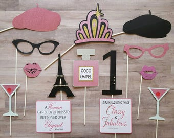Paris Inspired Birthday Photo Booth Props