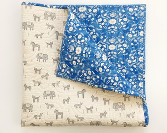 Baby/Toddler Quilt in Flower Shop Wholecloth in Blue - READY-to-SHIP - elephant baby quilt, animal crib quilt, toddler quilt boho crib quilt