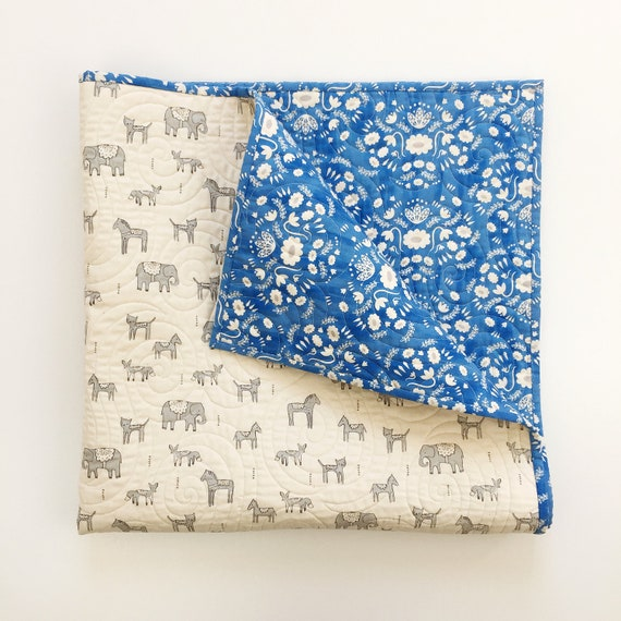Wholecloth Quilt - Flower Shop in Blue - READY-to-SHIP