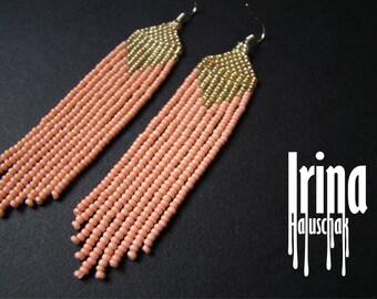 Light peachy and light gold beaded earrings, seed bead earrings, modern earrings, boho earrings, fringe earrings, beadwork jewelry, tribal