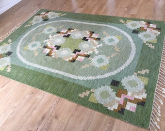 Vintage Scandinavian Swedish flat weave wool rollakan or rug by Ingegerd Silow circa 1960's