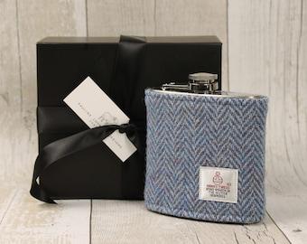 Hip Flask / Groomsmen Gift / Harris Tweed / Best Man Gift / Wedding / Scottish Gift / Blue Herringbone / Flask