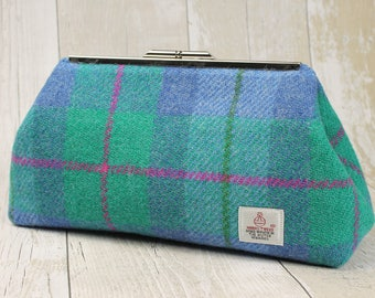 Clutch Bag / Harris Tweed / Evening Bag / Small Purse / Clutch Purse / Blue & Green Check