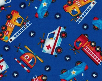 Fire Trucks, Police Cars & Ambulance Fabric- Be My Hero Collection by Henry Glass- 100% Cotton Premium Quilting Fabric