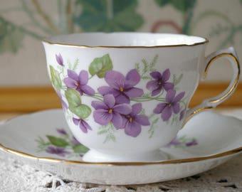 Royal Vale Purple Pansies Violets Teacup and Saucer Set