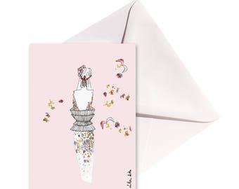Carte pliée Tourbillon de fleurs, enveloppe Blanche.