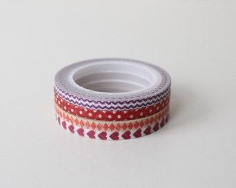 Skinny Washi tape set/ Reds Pattern 3mm Washi Planner set/ Scrapbooking deco set of 4