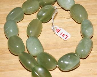 """16"""" Strand of 19 X 14mm Smooth Nugget Green New Jade Beads #107"""