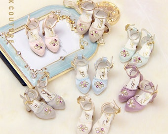 SK Couture Vintage Embroidery High Heels Shoes for Blythe Licca PureNeemo Momoko Jenny