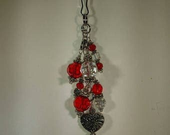 Heart Red Beads and Crystals Purse Dangle, Beaded Zipper Pull, Red Bag Bling, Zipper Charm