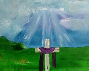 Storm clouds beams of light with a cross oil on wrapped canvas 16 x 20