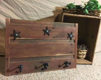 Rustic Coat hook with stars hanger primitive up-cycled reclaimed
