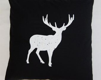 Black, one of a kind stag pillow case, finished with buttons, from Spoor Designs