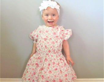 Vintage 1950's Baby Girl Floral Sundress / Size 24 Months 2T Adorable Toddler Dress