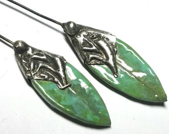 SALE - SPRING LEAVES headpins - 1 pair - CP7