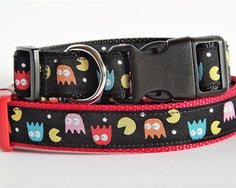 Pac Man Dog Collar - Small or Large Dog Collar - Adjustable Dog Collar - Gamer Dog Collar