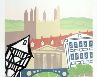 Exeter Living. City celebration limited edition print, lino cut by Steve Manning