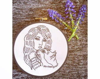 """5"""" Cat Lady Embroidery Hoop Art"""