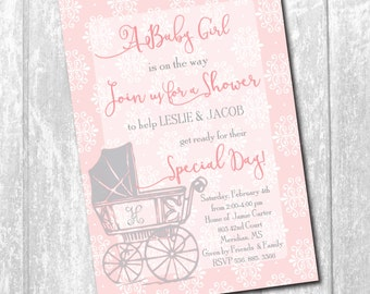 Baby Girl Shower Invitation printable/monogram, pink and gray, carriage, vintage, floral, pram/Digital File/wording can be changed