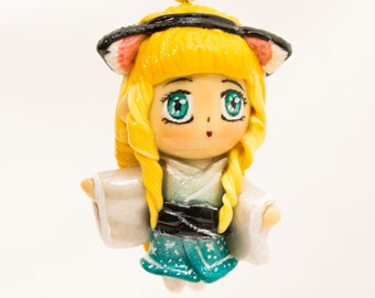 Kawaii chibi girl in Japanese kimono with kitty band. Polymer clay charm/necklace