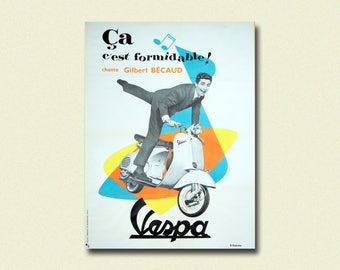 Vespa Poster 1960 - Vintage Biker Poster Advertising Retro mod podter Wall Decor Office decoration Harley Davidson poster